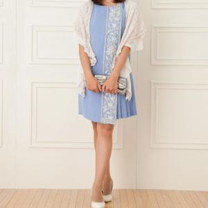 GRACE CONTINENTAL グレースコンチネンタル ビジュープリーツドレス ブルー/M