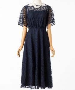 STRAWBERRY-FIELDS ストロベリーフィールズ ボタニカルリーフレースドレス