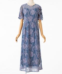 kaene カエン 配色レースギャザードレス ブルー