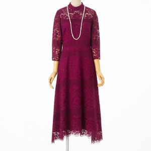 グレースコンチネンタル ハイネックフラワーレースドレス