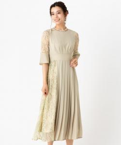Select Shop レース切替プリーツドレス