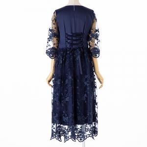 Select Shop チュールフラワー刺繍ドレス ネイビー/LL