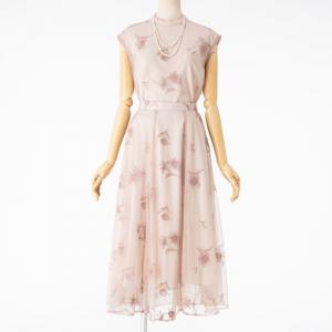 Noela ノエラ 配色刺繍チュールセットアップドレス ベージュ/M
