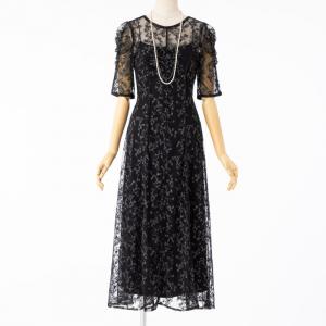 FRAY I.D フレイアイディー エンブロイダリ―ドレス ブラック/M