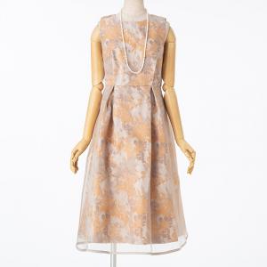 Select Shop フラワージャガードオーガンジードレス  ベージュ