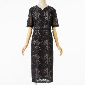 23区 パネルフラワーレースドレス ブラック