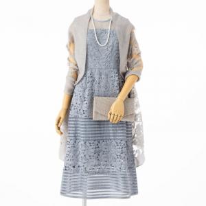Select Shop ケミカルレースボーダー切替えドレス ブルーグレー