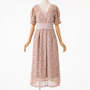 LilyBrown リリーブラウン ウエストクロスラメレースドレス ピンク