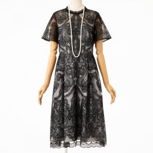 GRACE CONTINENTAL グレースコンチネンタル フリルネックチュール刺繍フレアドレス ブラック/S-M