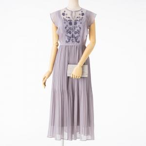 MERCURYDUO マーキュリーデュオ チュール刺繍×プリーツロングドレス ラベンダー/M