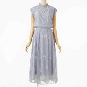 Noela ノエラ 配色刺繍チュールセットアップドレス ブルー/M