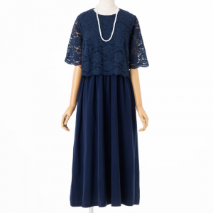 Select Shop 【授乳マタニティ】レースレイヤードロングドレス