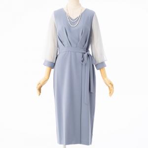 袖チュールラップ風ドレス