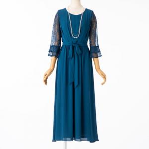 Select Shop レースフレア袖リボン付ドレス