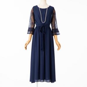 レースフレア袖リボン付ドレス