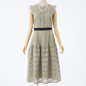 CELFORD ストライプレース切り替えドレス