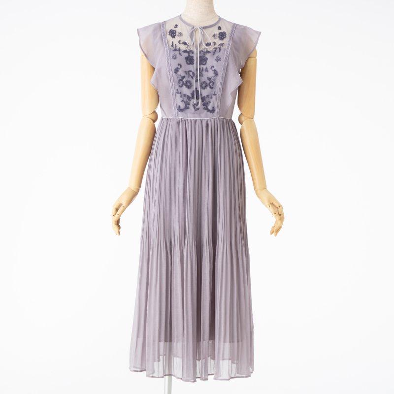 MERCURYDUO マーキュリーデュオ チュール刺繍×プリーツロングドレス
