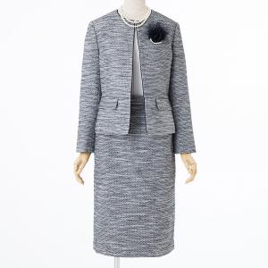 OPAQUE.CLIP 【スーツ3点SET】オペークドットクリップ ジャケット+スカート+ブラウス ブラック×ホワイト