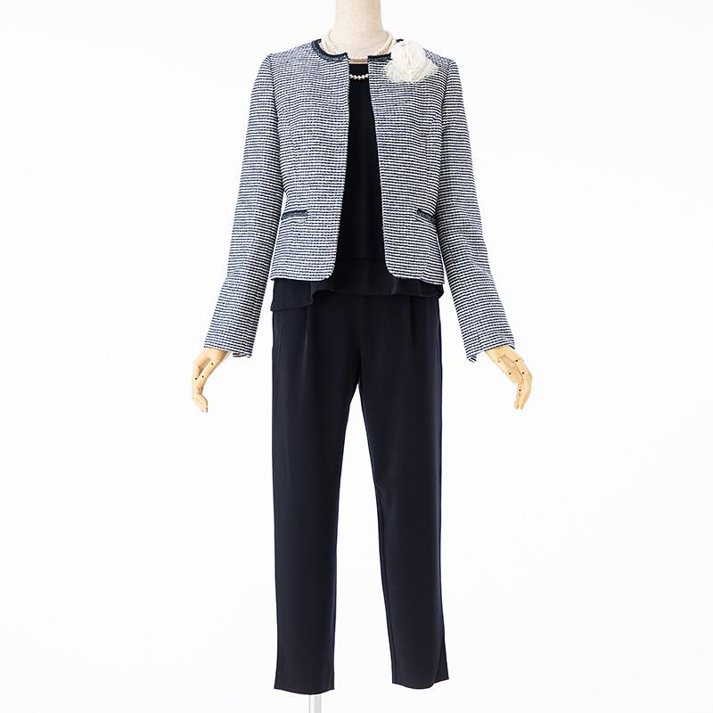 any FAM 【スーツ2点SET】エニィファム ジャケット+セットアップ ツイードネイビー×ネイビー
