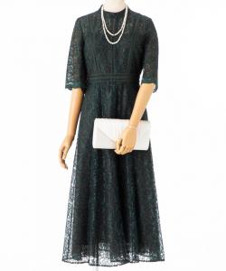 EMMEL REFINES 【ドレス2点セット】エメルリファインズ ハシゴレースハイネックフレアドレス ダークグリーン