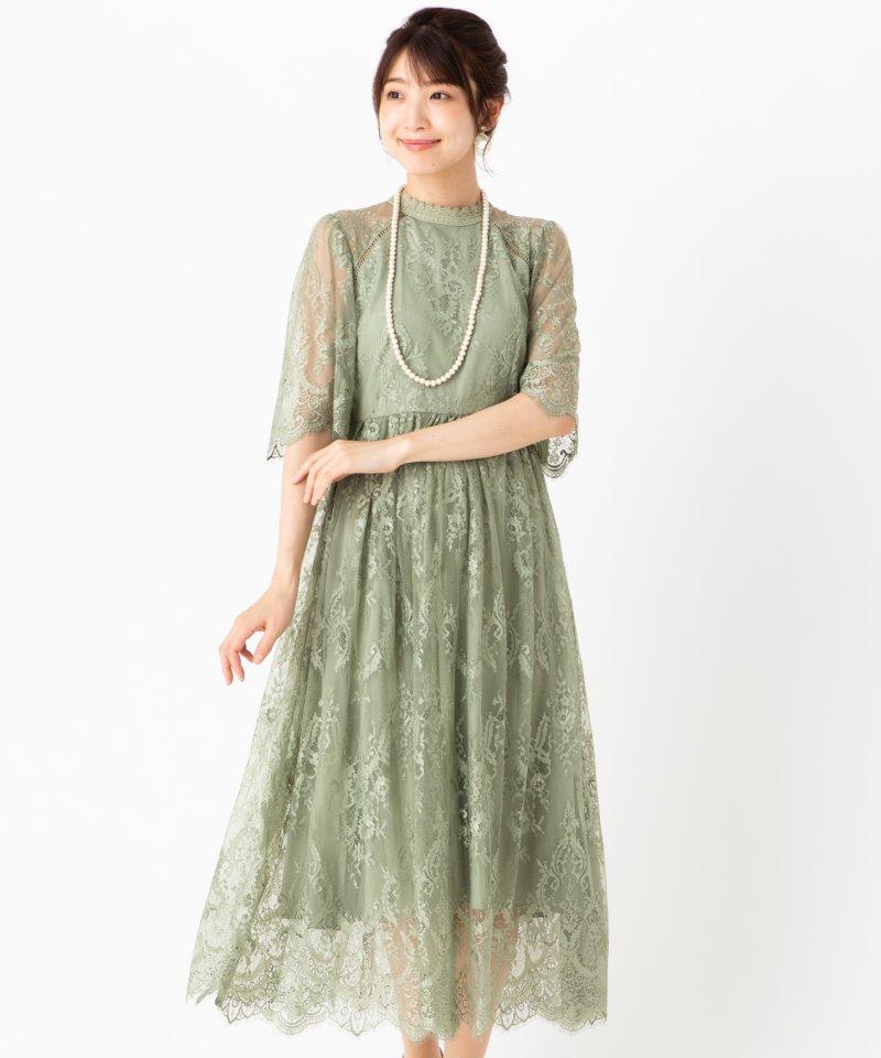 Dorry・Doll ドリードール  袖付き総レースドレス グリーン/M
